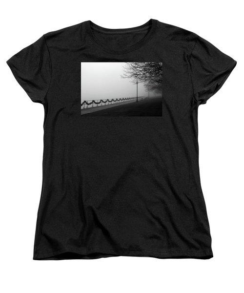 Women's T-Shirt (Standard Cut) featuring the photograph Boardwalk Fog 7 by Mary Bedy
