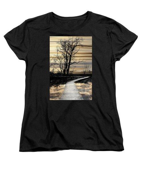 Boardwalk Women's T-Shirt (Standard Cut) by Joan Ladendorf