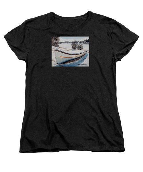 Women's T-Shirt (Standard Cut) featuring the painting Boat Under Snow by Marilyn  McNish