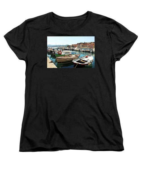 Women's T-Shirt (Standard Cut) featuring the photograph Boats In The Harbour by MGL Meiklejohn Graphics Licensing