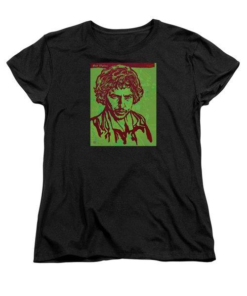 Bob Dylan Pop Art Poser Women's T-Shirt (Standard Cut) by Kim Wang