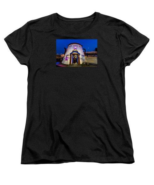 Bob's Java Jive - Historic Landmark During Blue Hour Women's T-Shirt (Standard Cut) by Rob Green