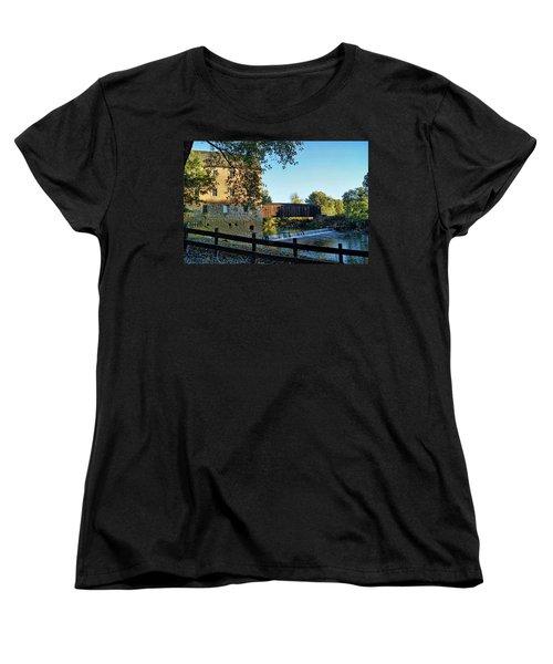 Women's T-Shirt (Standard Cut) featuring the photograph Bollinger Mill And Bridge by Cricket Hackmann
