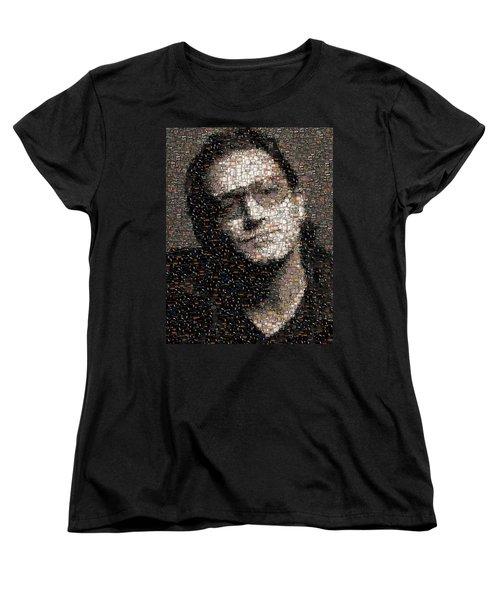 Women's T-Shirt (Standard Cut) featuring the mixed media Bono U2 Albums Mosaic by Paul Van Scott