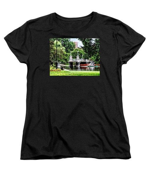 Boston Ma - Boston Public Garden Bridge Women's T-Shirt (Standard Cut) by Susan Savad