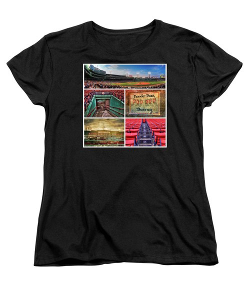 Boston Red Sox Collage - Fenway Park Women's T-Shirt (Standard Cut) by Joann Vitali
