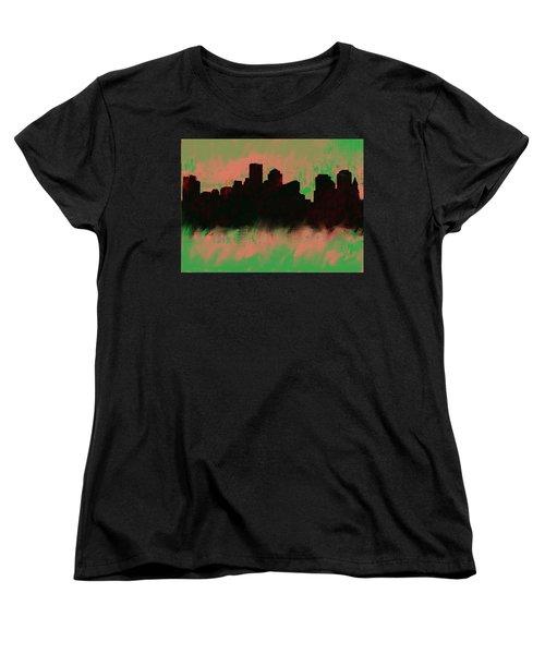 Boston Skyline Green  Women's T-Shirt (Standard Cut) by Enki Art