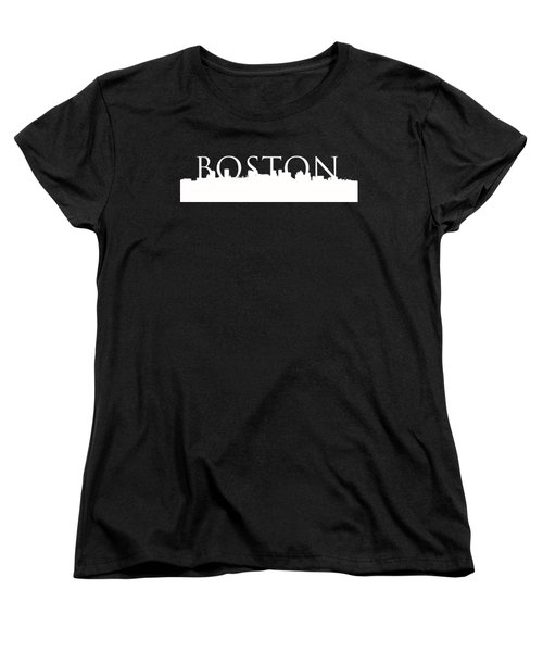 Boston Skyline Outline Logo 2 Women's T-Shirt (Standard Cut) by Joann Vitali