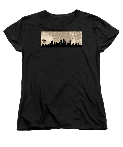 Boston Skyline Vintage Women's T-Shirt (Standard Cut) by Andrew Fare