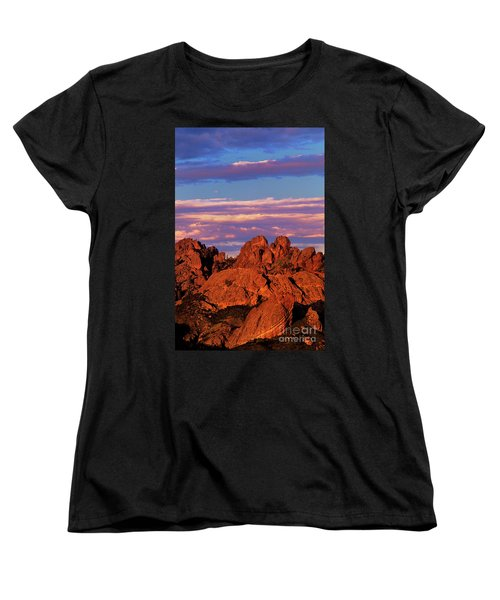 Boulders Sunset Light Pinnacles National Park Californ Women's T-Shirt (Standard Cut) by Dave Welling