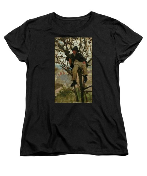 Women's T-Shirt (Standard Cut) featuring the painting Boy In A Tree by Henry Scott Tuke