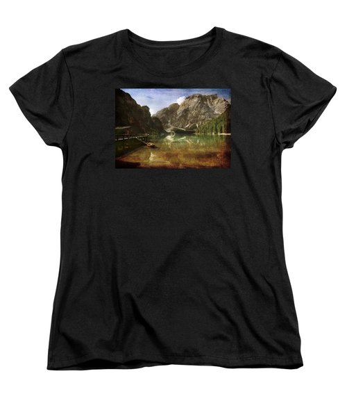 Braies Lake Women's T-Shirt (Standard Cut) by Vittorio Chiampan