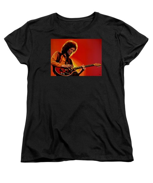 Brian May Of Queen Painting Women's T-Shirt (Standard Cut) by Paul Meijering