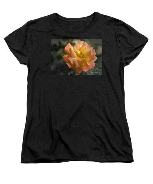 Women's T-Shirt (Standard Cut) featuring the photograph Bridal Pink Yellow Hybrid Tea Rose Genus Rosa by David Zanzinger