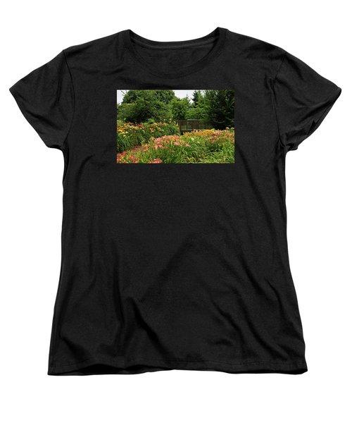 Women's T-Shirt (Standard Cut) featuring the photograph Bridge In Daylily Garden by Sandy Keeton