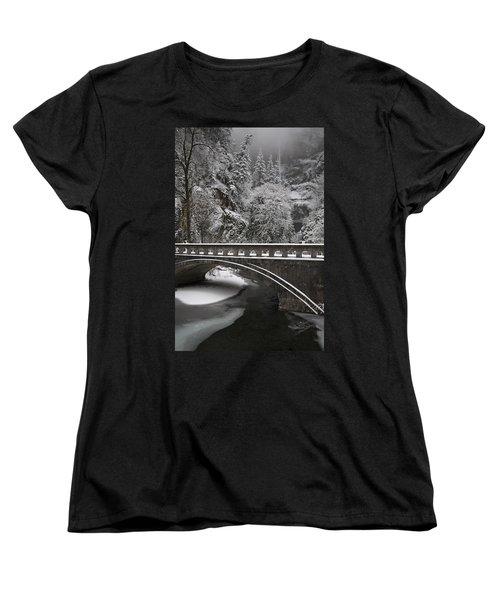 Bridges Of Multnomah Falls Women's T-Shirt (Standard Cut) by Wes and Dotty Weber