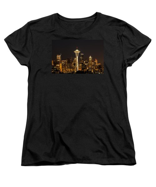 Bright At Night - Space Needle Women's T-Shirt (Standard Cut) by E Faithe Lester