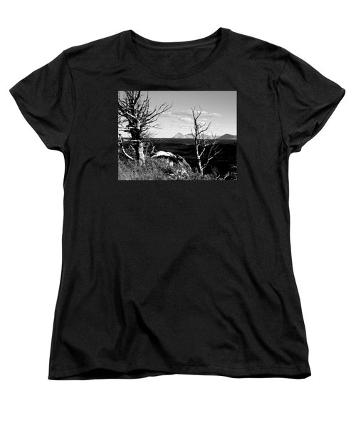 Bristle Cone Pines With Divide Mountain In Black And White Women's T-Shirt (Standard Cut)
