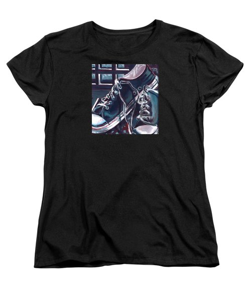 Women's T-Shirt (Standard Cut) featuring the painting Broken-in Converse by Shawna Rowe