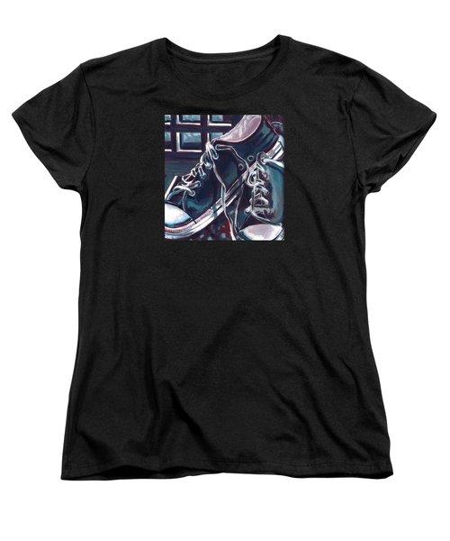 Broken-in Converse Women's T-Shirt (Standard Cut) by Shawna Rowe