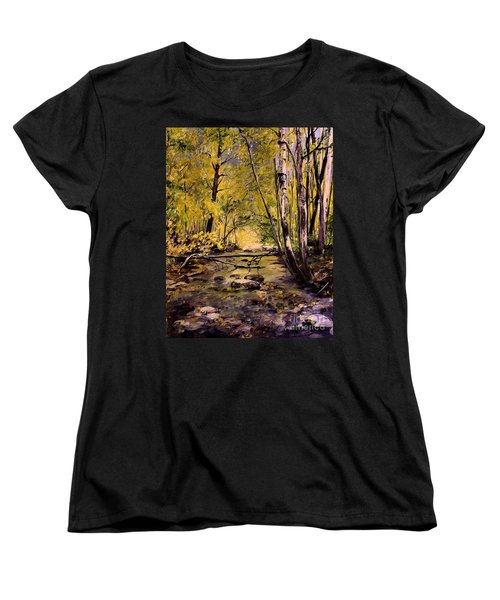 Women's T-Shirt (Standard Cut) featuring the painting Brook In Stowe Vermont by Laurie Rohner