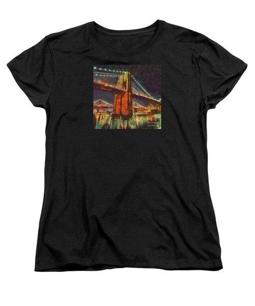 Brooklyn Bridge Women's T-Shirt (Standard Cut) by Dragica  Micki Fortuna