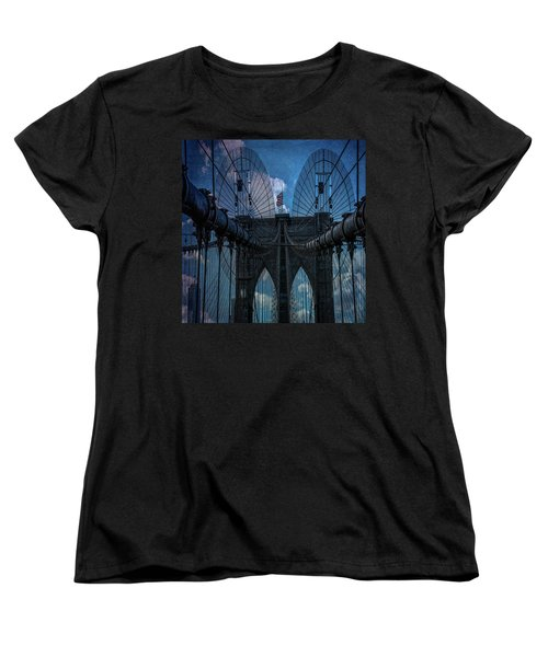 Women's T-Shirt (Standard Cut) featuring the photograph Brooklyn Bridge Webs by Chris Lord