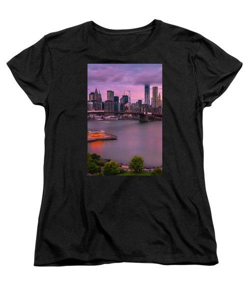 Women's T-Shirt (Standard Cut) featuring the photograph Brooklyn Bridge World Trade Center In New York City by Ranjay Mitra