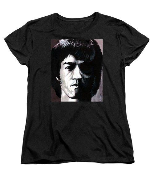 Bruce Lee Portrait Women's T-Shirt (Standard Cut) by Alban Dizdari