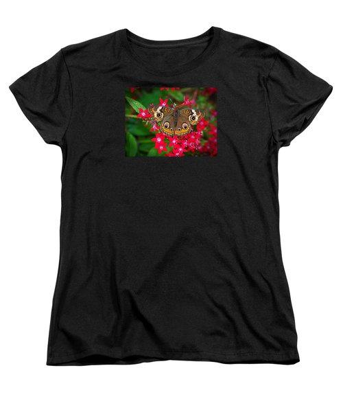 Buckeye On Pentas Women's T-Shirt (Standard Cut) by Judy Wanamaker