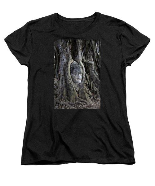 Buddha Head In Tree Women's T-Shirt (Standard Cut) by Adrian Evans