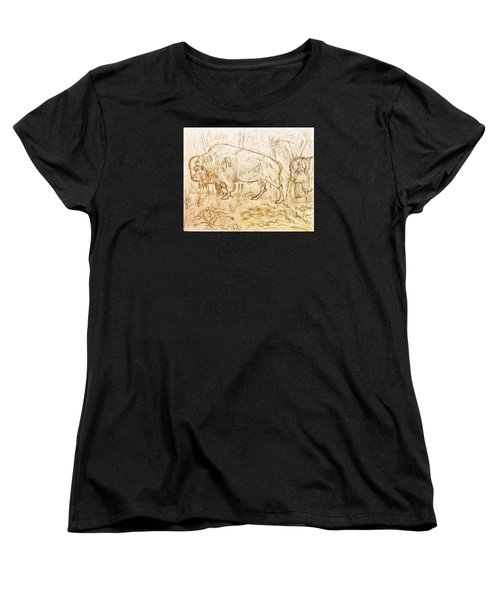 Buffalo Trail  Women's T-Shirt (Standard Cut) by Larry Campbell