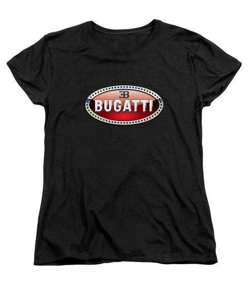 Bugatti - 3 D Badge On Black Women's T-Shirt (Standard Cut) by Serge Averbukh