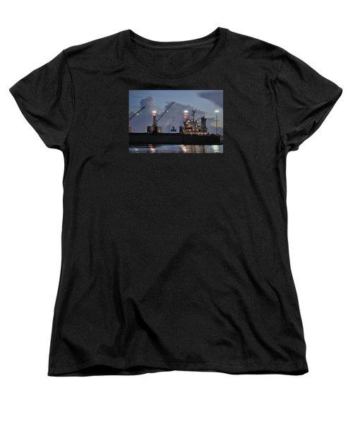 Women's T-Shirt (Standard Cut) featuring the photograph Bulk Cargo Carrier Loading At Dusk by Bradford Martin