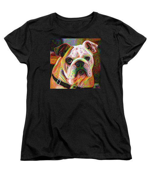 Bulldog Surreal Deep Dream Image Women's T-Shirt (Standard Cut) by Matthias Hauser