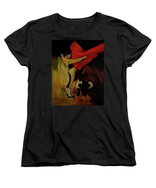 Bullfighter By Mary Krupa Women's T-Shirt (Standard Cut) by Bernadette Krupa