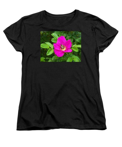 Women's T-Shirt (Standard Cut) featuring the photograph Bumble Bee On A Wild Rose by Joy Nichols
