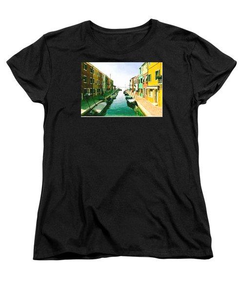 Women's T-Shirt (Standard Cut) featuring the digital art Burano Venice by Kai Saarto
