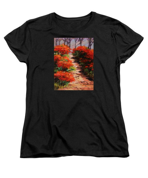 Women's T-Shirt (Standard Cut) featuring the painting Burning Bush Along The Lane by John Williams