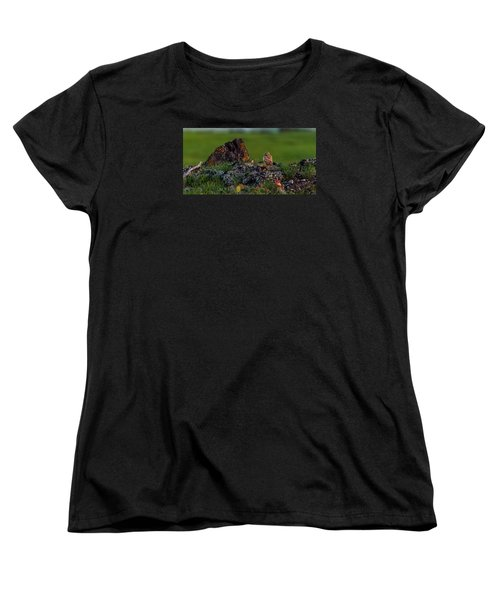Women's T-Shirt (Standard Cut) featuring the photograph Burrowing Owl In Cactus #1 by Yeates Photography