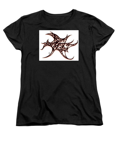 Women's T-Shirt (Standard Cut) featuring the drawing Bushal A Thorns Red by Jamie Lynn