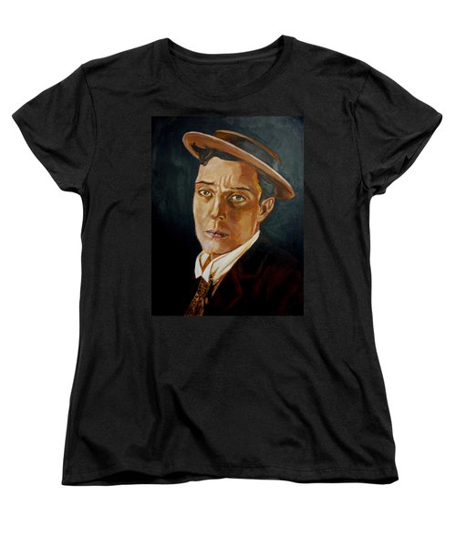 Buster Keaton Tribute Women's T-Shirt (Standard Cut) by Bryan Bustard