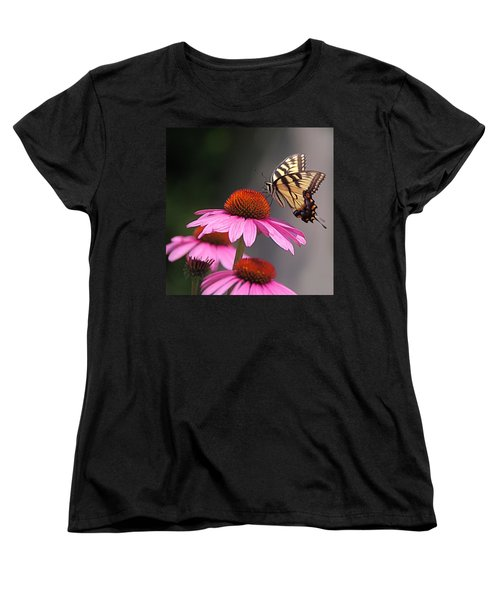 Butterfly And Coneflower Women's T-Shirt (Standard Cut) by Byron Varvarigos