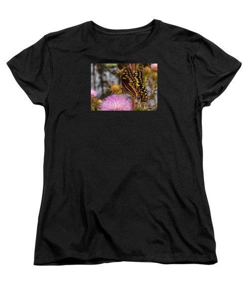Butterfly Visit Women's T-Shirt (Standard Cut) by Tom Claud