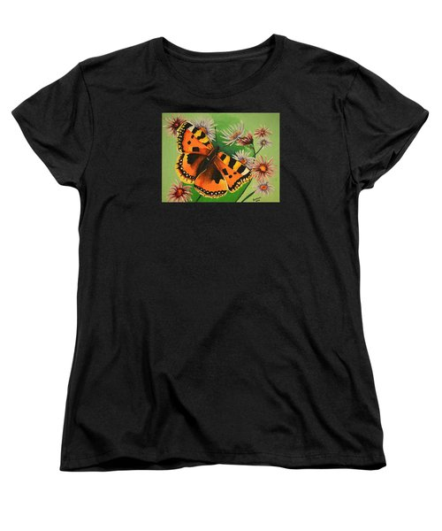 Butterfly With Asters Women's T-Shirt (Standard Cut) by Donna Blossom