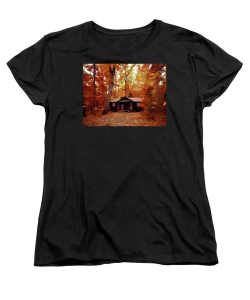 Women's T-Shirt (Standard Cut) featuring the painting Cabin In The Woods P D P by David Dehner