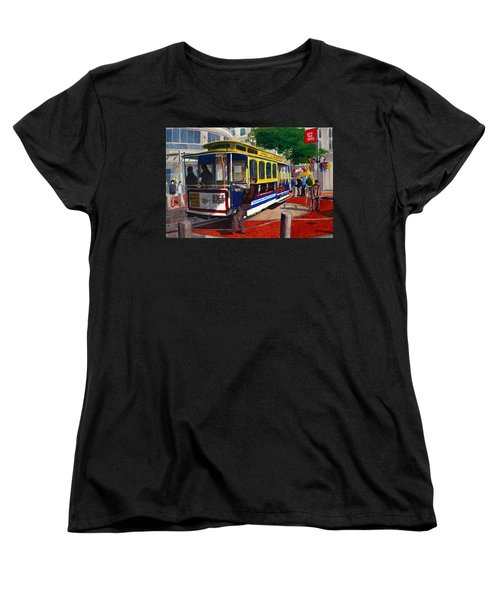 Cable Car Turntable At Powell And Market Sts. Women's T-Shirt (Standard Cut) by Mike Robles
