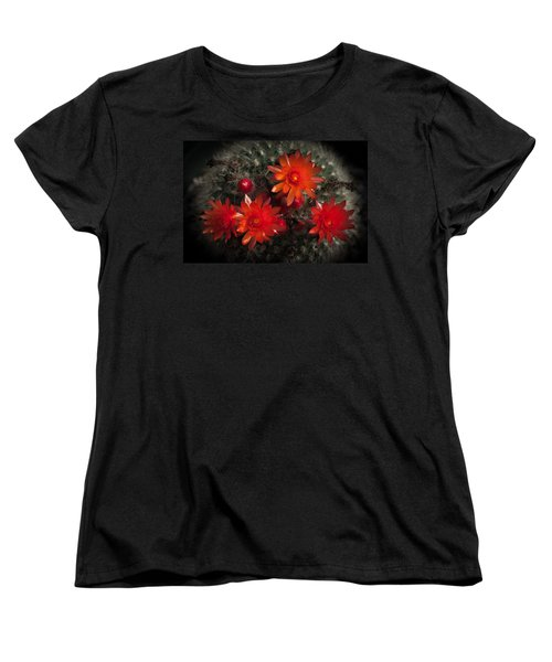 Cactus Red Flowers Women's T-Shirt (Standard Cut) by Catherine Lau