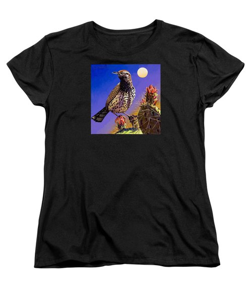 Women's T-Shirt (Standard Cut) featuring the painting Cactus Wren by Bob Coonts