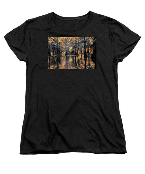 Caddo Lake Sunrise Women's T-Shirt (Standard Cut) by Iris Greenwell